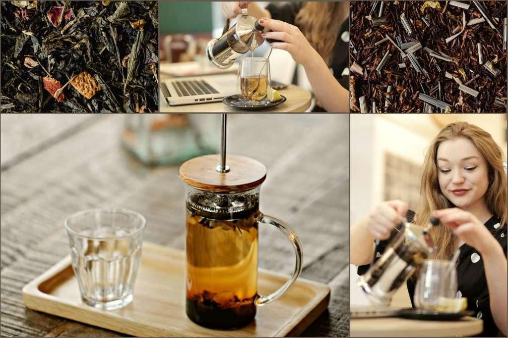 French press és french press segítségével teát készítő szőke lány